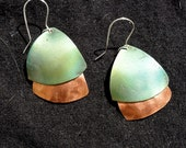 Compound copper earrings, green, copper jewelry