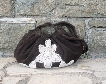 Vintage Doily Bag, Chocolate Brown Knit fabric and crochet Bag