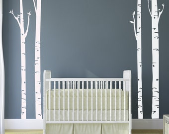 Birch Trees Vinyl Decal 8 feet tall 96 inches ORIGINAL Graphics by DecoMOD Walls