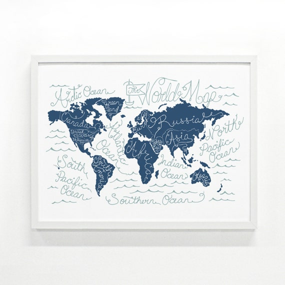 World Map Poster -  18 x 24 Handprinted Map Print, Wall Art, Typography Illustration