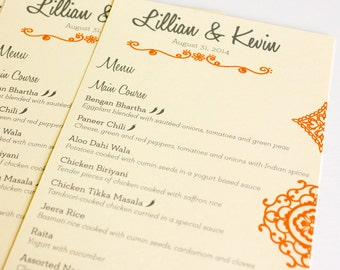 Mehndi Henna Wedding Menu Cards Indian Eastern Bohemian Custom Table Setting Sign