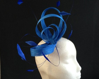 Royal Blue fascinator with Sinamay Loops & feathers - lovely headpiece perfect for the races or a wedding, can be made in other colours