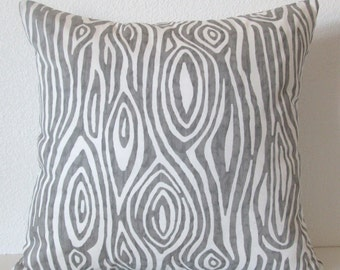 Pillow Cover - Wood Grain - Grey - White - Decorative - Throw - Lumbar - Cushion Cover