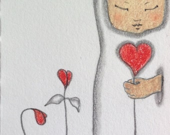 Love and Zen Valentine's Day Original ACEO Illustration