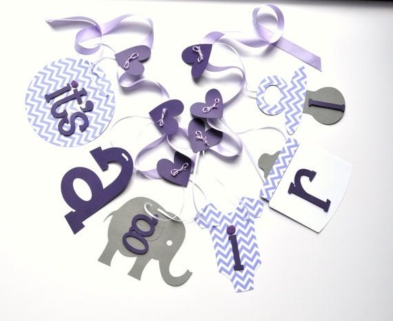 purple elephant baby shower decorations baby it 39 s a girl banner