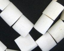 30 White Kenya Bone Beads Flags - African Bone Beads - Jewelry Making Supplies - Made in Kenya ** (BON-FLT-WHT-261)