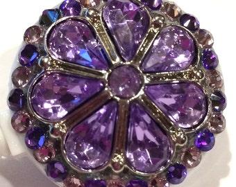 Lavendar Purple Rhinestone and Swarovski Crystal Embellished ID Badge Reel