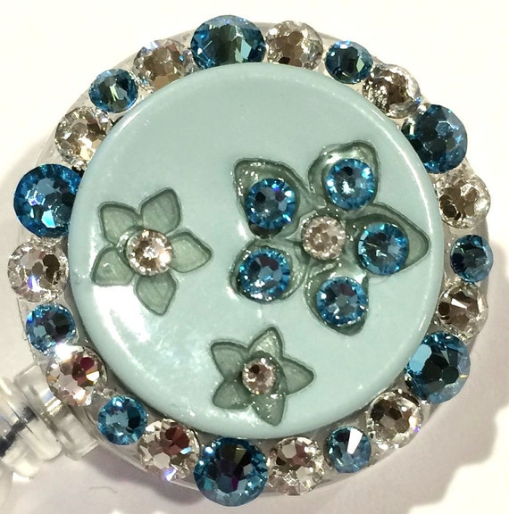 Light pale blue swarovski crystal floral button embellished - Swarovski crystal buttons ...