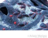 Blue Wool Silk scarf, Nuno Felt Women accessories, Warm Cosy shawl, arty neckwarmer, autumn hiver