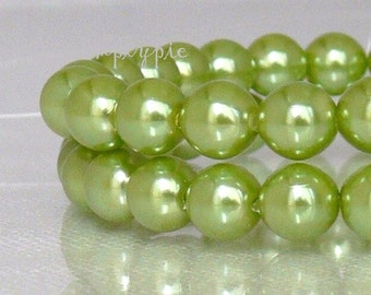 Olive Pearl Round Czech Glass Beads 6mm 25