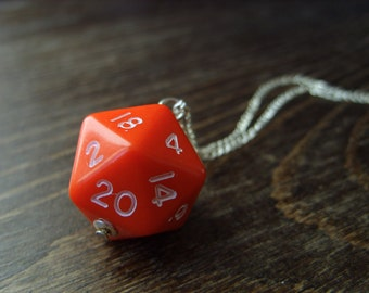 red D20 dice necklace dungeons and dragons dice pendant D20 jewelry geek polyhedral dice red die pendant geek jewelry