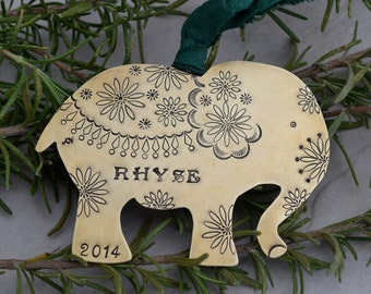 Elephant Ornament Metal in Brass Copper or Nickel Silver Handstamped Personalized - First Christmas, Commemorative, Memorial, Keepsake