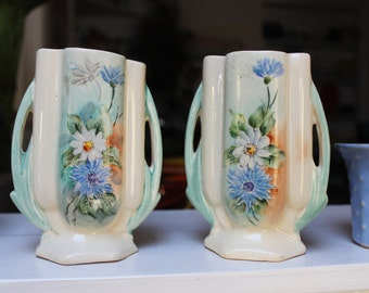 Pair McCoy Pottery Underglaze Decorated Hand painted Vases Rare VINTAGE by Plantdreaming