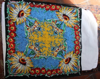 Rayon Scarf Large Bold Flower Sunflower VINTAGE by Plantdreaming