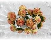 Miniature Roses~Sorbet~ Set of 20 for Scrapbooking, Cardmaking, Altered Art, Wedding, Mini Album