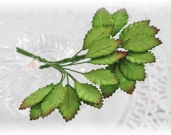 Miniature Green Mulberry Leaves Set of 20 for Scrapbooking, Cardmaking, Altered Art, Wedding, Mini Album