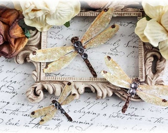 Fall Dragonfly  Embellishments for Scrapbooking, Cardmaking, Tag Art, Mixed Media, Wedding