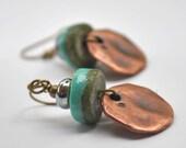 Turquoise Lampwork Earrings, Organic Copper Drop Earrings, Earthy, Artisan Glass Bead Earrings
