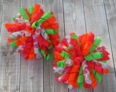 Girls Neon Summer Corker Bows- Pigtail Bows- Neon Pink, Green, Orange & Neon Dots- Toddler Bows- Baby Bows