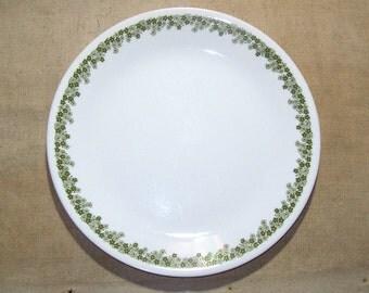 Vintage Corelle Spring Blossom Green Dinner Plate / 1970s Corelle Livingware Spring Blossom Green Dinner Plate