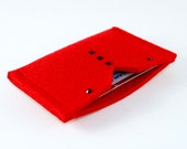 Red felt credit card wallet...womens slim travel wallet...business card bus pass ID holder...contemporary eco friendly merino wool...ON SALE