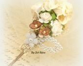 Boutonniere, Groom, Groomsmen, Tan Boutonniere, Corsage, Mother of the Bride, Wedding, Ivory, Cream, Paper, Pearls, Shabby Chic, Rustic