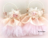 Flower Girl Basket, Gold, Champagne, Tan, Beige, Ivory, Pink, Elegant Wedding, Tutu Basket, Pearl Handle, Tulle, Lace, Vintage Style