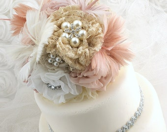 Brooch Cake Topper, Blush, Wedding, Brooch, Feathers, Pearls, Cake Decoration, Dusty Rose, Champagne, Tan, Ivory, Lace, Crystals, Elegant