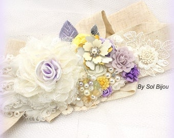 Sash, Ivory, Lilac, Yellow, Purple, Elegant Wedding, Shabby Chic, Garden Wedding, Spring, Maid of Honor, Linen, Feathers, Crystals, Pearls