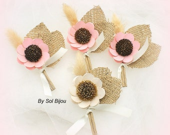 Boutonnieres, Oatmeal, Pink, Ivory, Tan, Shabby Chic, Groomsmen, Corsages, Button Hole, Groom, Shabby Chic, Wheat, Burlap, Rustic Wedding