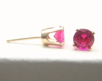 Ruby 14K Gold Stud Earrings - Gold Earrings - 3 mm 4 mm 5 mm - Post Earrings - Ruby Earrings - Birthstone Earrings - Solid 14K Gold