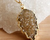 Gold Maple Leaf Druzy Necklace - Shades of Honey - 14K GF, Choose Your Stone