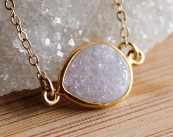Gold Agate Druzy Quartz Necklace - Side Teardrop - Choose Your Stone