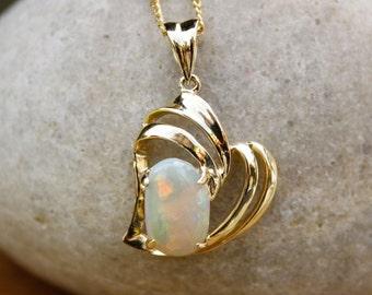 Gold Rainbow Australian Opal Necklace - October Birthstone Necklace - Heirloom Jewelry