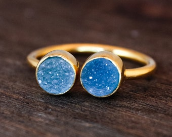 SALE Dual Druzy Ring - Double Stone Ring - Icy Blue Druzy
