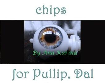 Pullip eye chips OOAK REALISTIC custom Pullip, Dal, Taeyang eye chips set G4, by Ana Karina. UV laminated