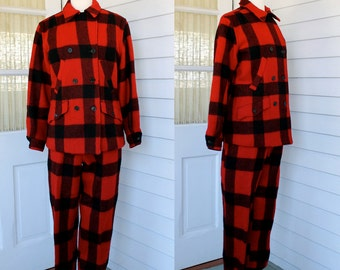 Ladies Red Plaid Wool Hunting Suit -  Jacket and Pants with Suspenders - Vintage 1940s 40s