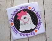 Girls Halloween Shirt, Fa BOO lous Ghost Shirt,  Embroidered Applique Shirt or Bodysuit