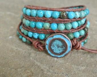 Zelia Turquoise Beaded Leather Wrap Bracelet
