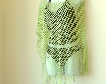 Poncho - Chartreuse Green - Shawl - Beach Coverup - 90s - UNIQUE - 60s Style - Sheer Asymetrical - Recycled - Retro Boho - Festival