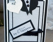 Wedding Card - Custom Made 5x7 - Black,white - Happiness,Congratulations