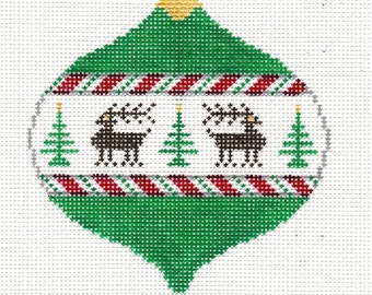 Reindeer Needlepoint Christmas Ornament