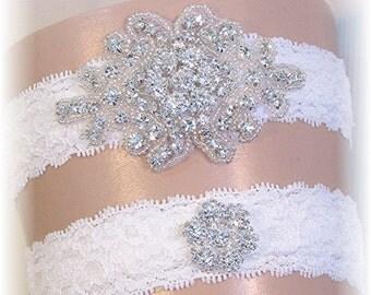 Garter Set, Wedding Garter Set, Bridal Garter Set, Bridal Garter Belt, Keepsake Garter, Toss Garter, Lace Garter Set, Crystal Garters