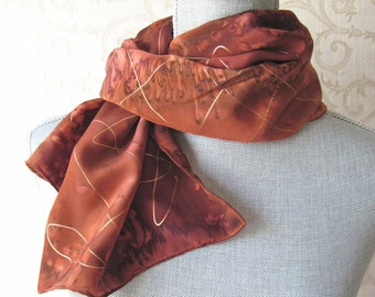 Hand Dyed Silk Crepe Scarf in Copper and Brown with Gold Accents