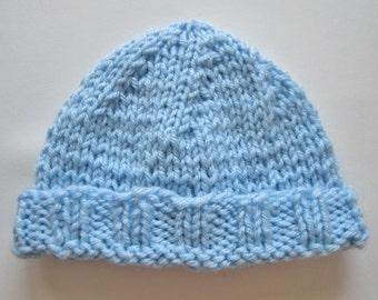 Newborn Knit Hat, Blue Baby Hat, Boy Hat, Newborn Hospital Hat, Newborn Photo Prop, Knit Baby Hat