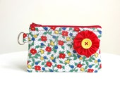 Colorful Red Flower Floral Zippered Bag / Coin Purse / ID Case / Gadget Pouch with Split Ring - Ready to Ship
