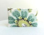 Big Flower Zippered Bag in Seafoam Green / Beaded Pull - READY TO SHIP