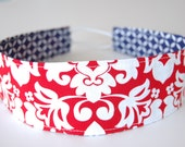 Wide Reversible Fabric Headband - Red and White Damask with Navy and White Geometric