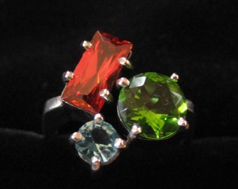 Sterling Silver Ring with Red, Blue, and Green Stones, Size 9