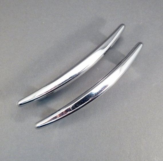 Chrome Mid Century Curved Drawer Pulls Cabinet By